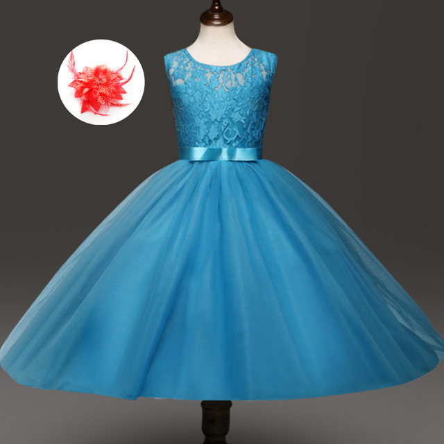 4775dbd347428 US $8.04 33% OFF|Fashion Cute Cheap Flower Girl Purple Red Grey Turquoise  Dress Party Kids Children Wedding Gowns for Girls Size 12 14 Years-in ...