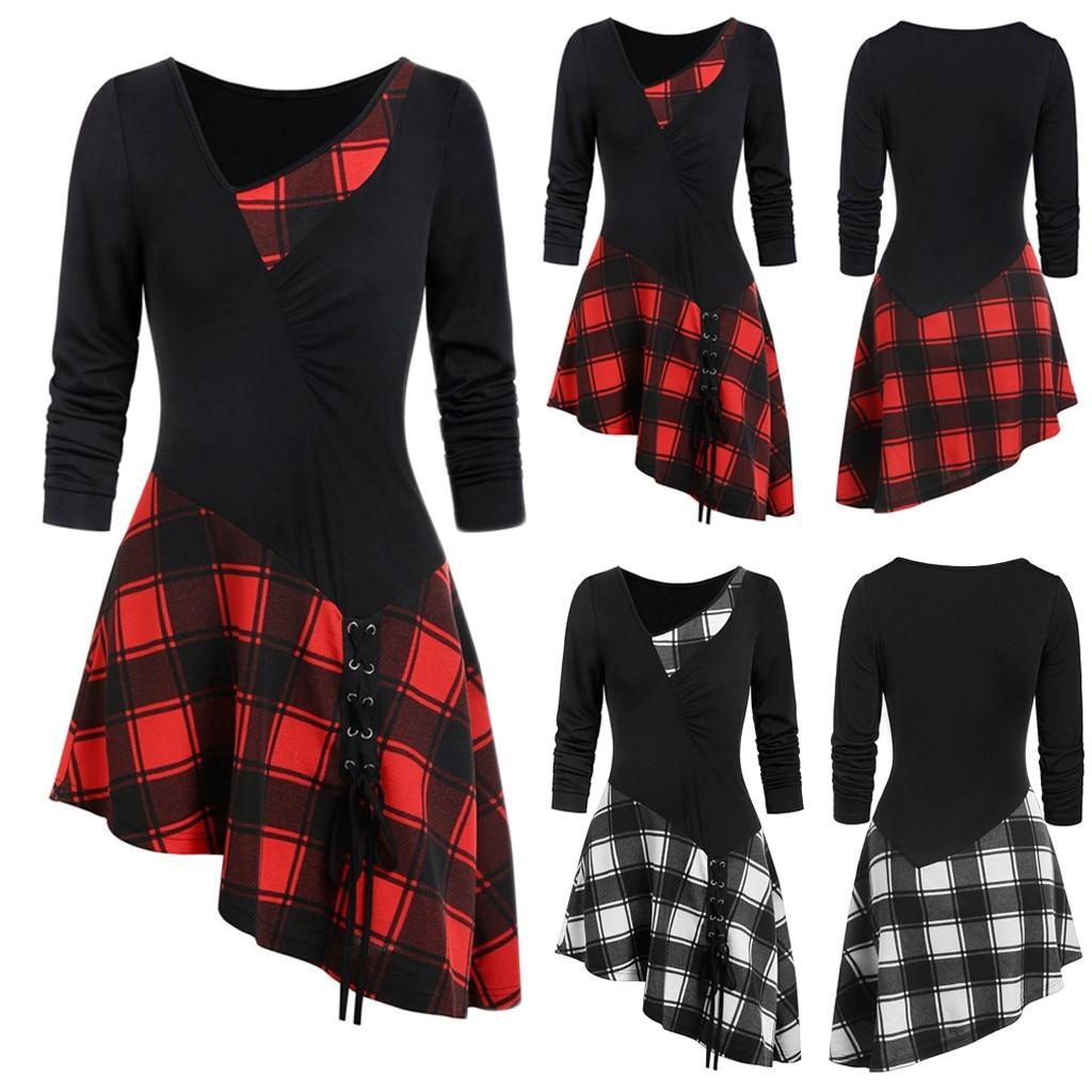Fashion Women Long Sleeve Cold Shoulder Cross Lace Up Plaid Print Irregular Dress Casual Long girl Tops Dress female S-XXL#J30