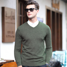High quality men new fashion design solid color 100% wool v neck sweater long sleeve