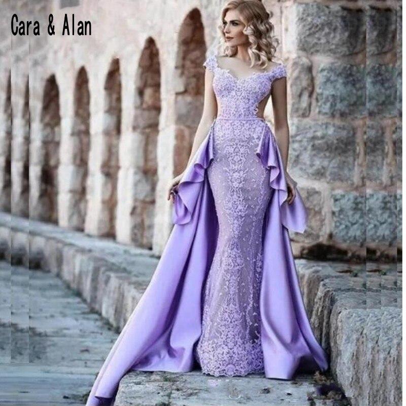 Black Wedding Dress With Detachable Train: 2019 Lace Mermaid Lilac Evening Dresses With Detachable