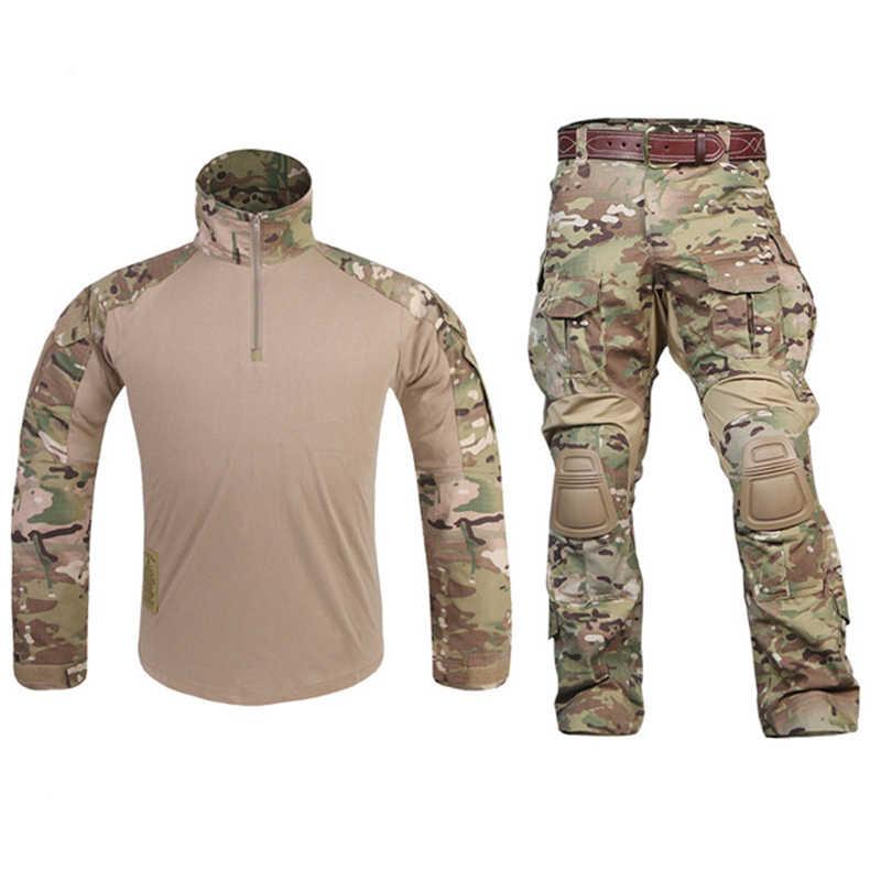 Новый G3 Единая боевая рубашка штаны с наколенниками Военная авиационная Униформа тактический Пейнтбол Охота Одежда BDU Камуфляж