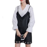 Для женщин комплект из 2 частей осень два Костюмы Рог рукавом полые черные Кружево ремень pu Кожаные модельные туфли зимние платья Vestido De Festa