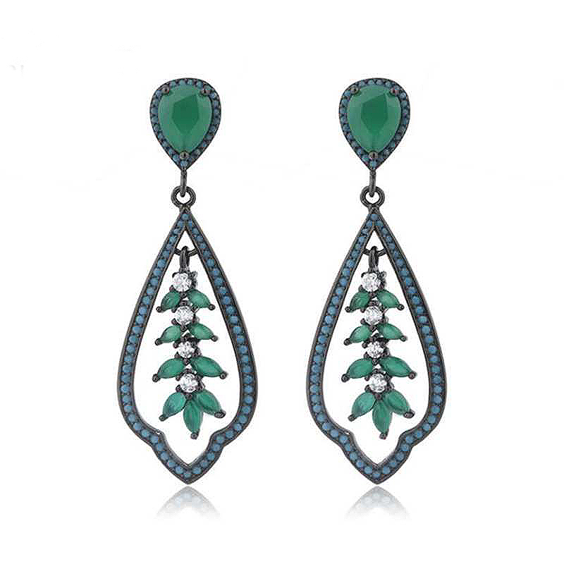 Ruifan Plant Shape Turquoise Drop Earrings for Women Green Cubic Zircon and Glass Black 925 Silver Jewelry Party Earrings YEA157 sitemap 307 xml