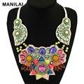 MANILAI Chic Bohemia Colar Declaração Collares 2016 Big Moda Exagerada Jóias Artesanais Multicolor Beads Colar Gargantilha