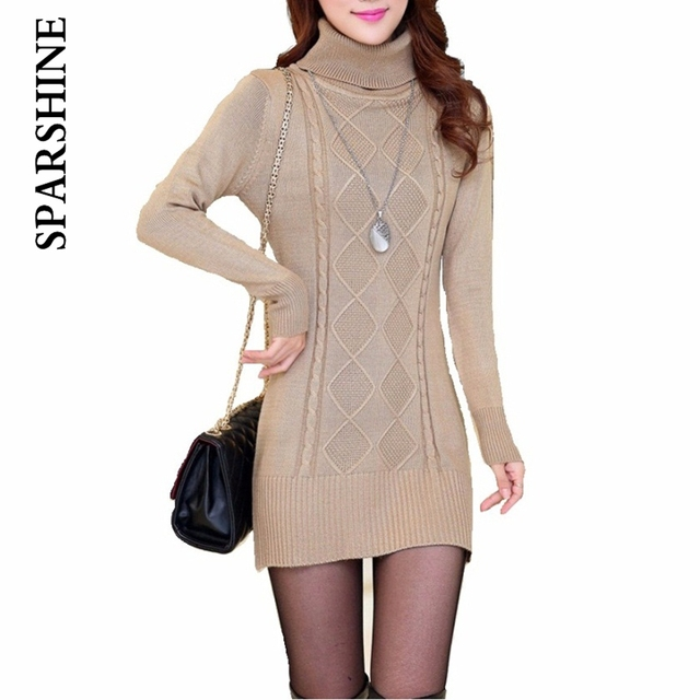 2016 New Fashion Women's Autumn Winter Thicken Wool Turtleneck Pullover Knitted Sweaters For Women Long Slim  Dresses Sweater