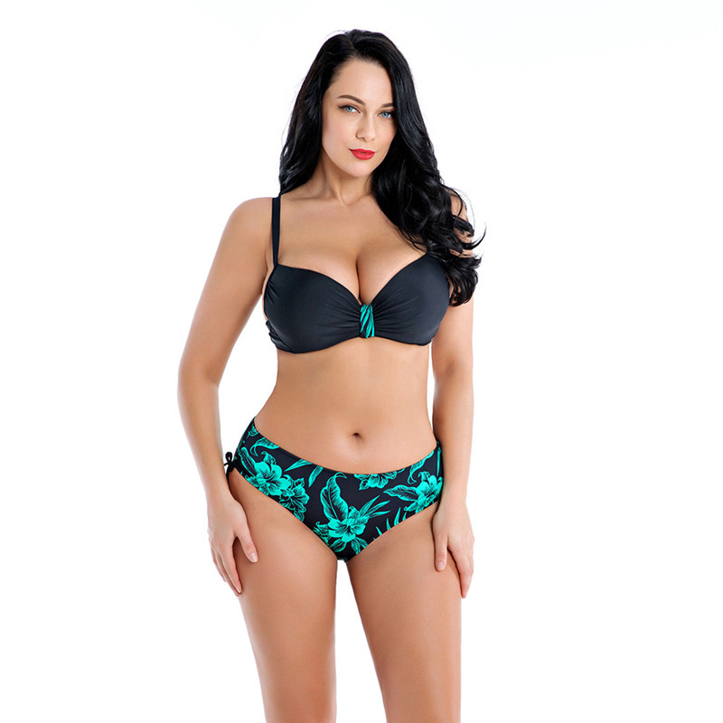 02fba35d99 Detail Feedback Questions about NAIDEY Sexy Plus Size Bikinis Women  Swimwear 2019 Female Floral Printed Bikini Set Push Up Bathing Suits Big  Cup E Swim Wear ...