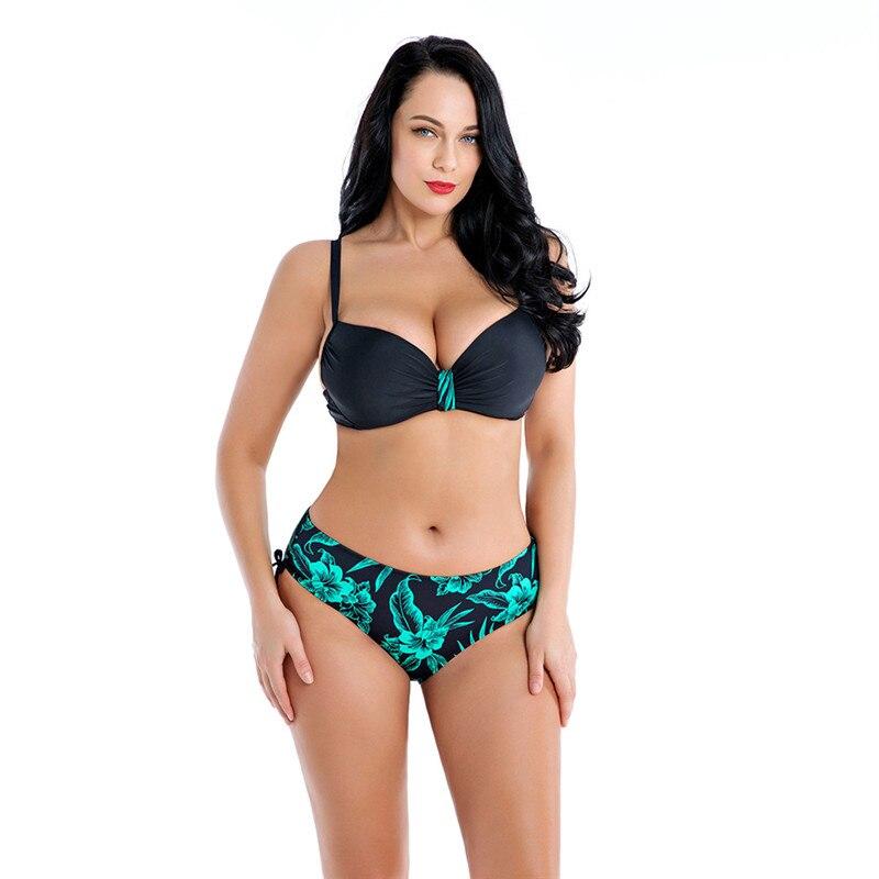 NAIDEY Sexy grande taille Bikinis femmes maillots de bain 2019 femme Floral imprimé Bikini ensemble Push Up maillots de bain grande tasse E maillot de bain 6XL