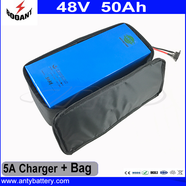 Electric Bike Battery 48V 50AH Lithium ion Battery 48V 2500W For Bafang eBike Motor With 5A Charger And Battery Bag EU Duty Free free shipping customs duty hailong battery 48v 10ah lithium ion battery pack 48 volts battery for electric bike with charger