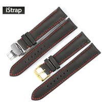 IStrap Black With Red Stitch Genuine Leather Watchband Watch Strap With Butterfly Buckle Watch Band For