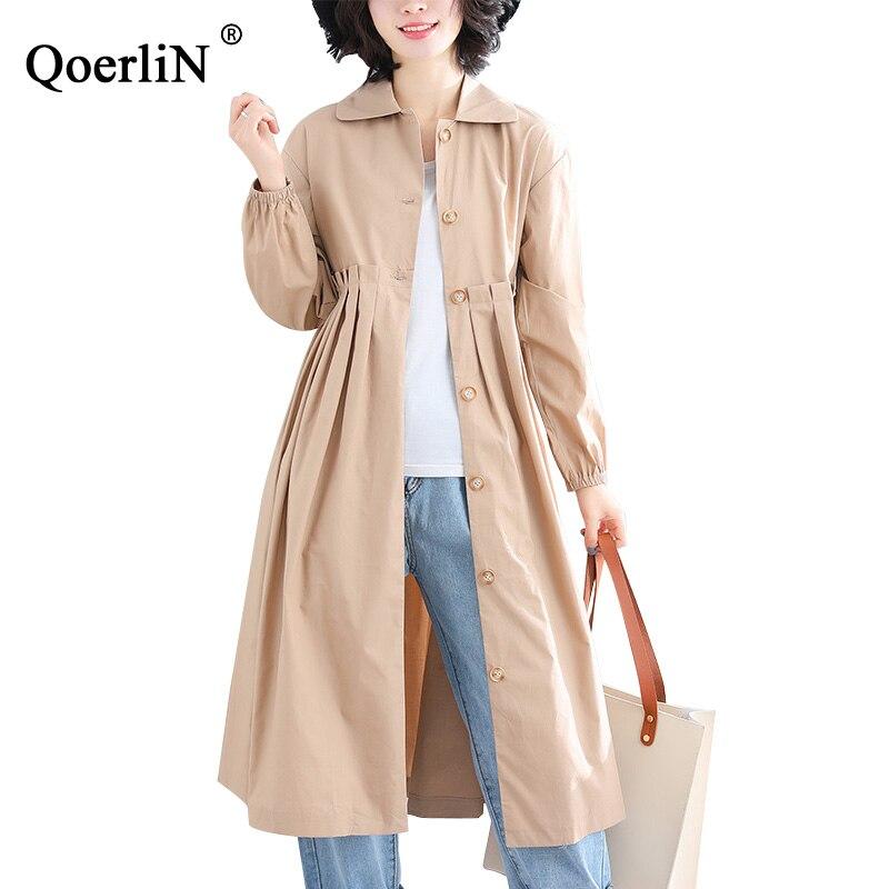 Qoerlin Elegant Pleated Trench Coat Women 2019 Spring Long Coat Button Vintage Apricot Fashion Overcoat Ladies Big Size Overcoat