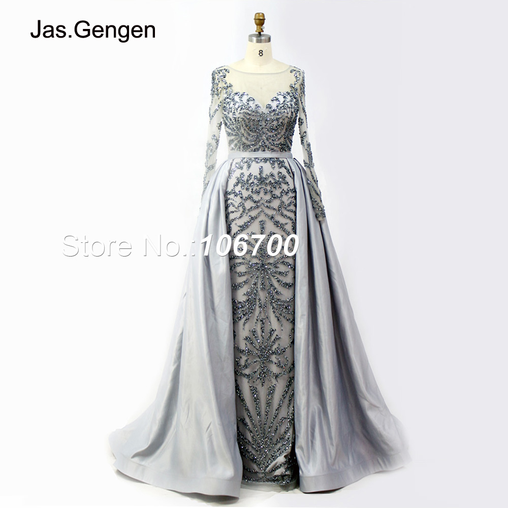 855292bcb4 Detail Feedback Questions about New Prom Dresses With Detachable Train Long  Sleeve Illusion Hand Make Crystal Beading Elegant Mermaid Evening Gown 933B  on ...