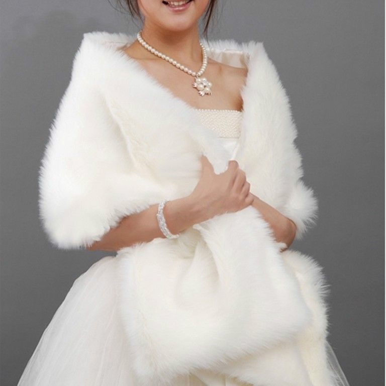 White Black Faux Fur Shrug Cape Stole Long Wraps Cheap Wedding Party Bridal Special Occasion Shawls