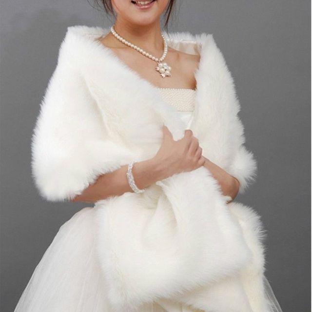 White Fur Stole >> White Black Faux Fur Shrug Cape Stole Long Wraps Cheap Wedding Party Bridal Special Occasion Shawls