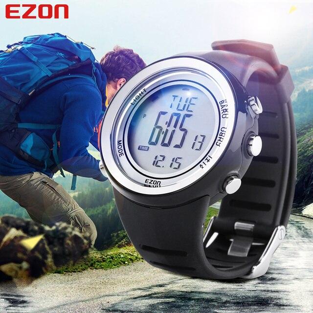 Горячая! EZON Альтиметр Барометр Термометр Высота Спортивные Часы Цифровые Часы Бег Скалолазание Туризм Наручные Часы Montre Homme