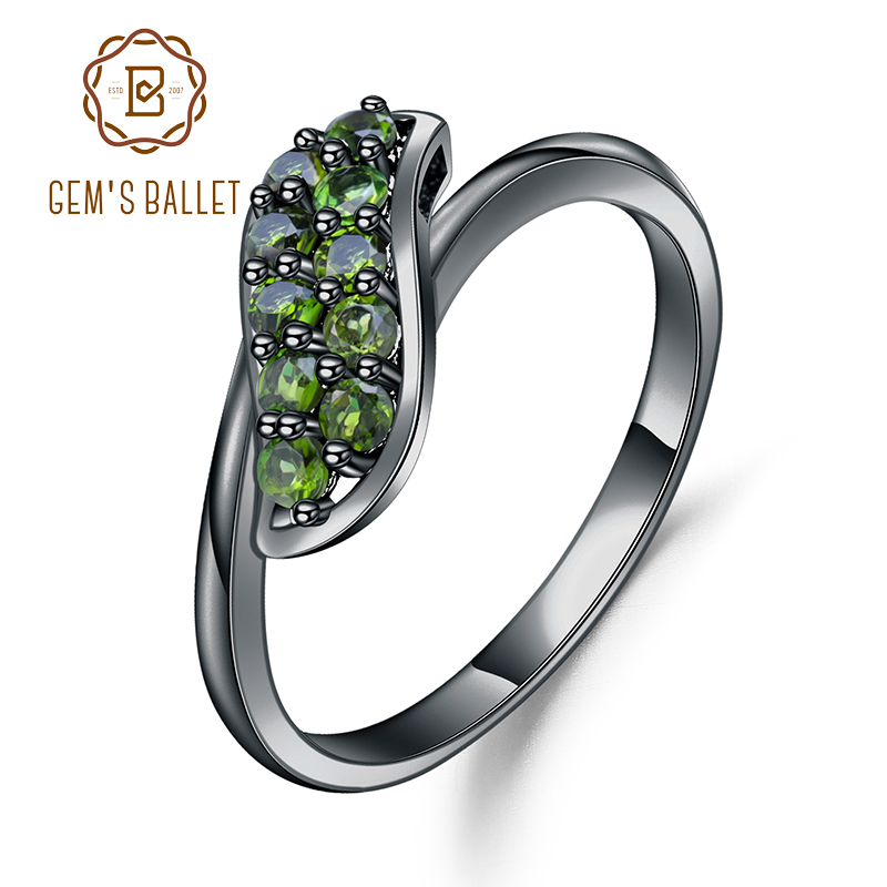 GEM'S BALLET 0.53Ct Ct Natural Chrome Diopside Gemstone Ring 925 Sterling Silver Simple Elegant Rings for Women Fine Jewelry