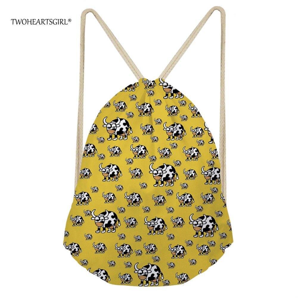 TWOHEARTSGIRL Drawstring Backpack 3D Printing Girls Backbag for Women Softback Casual Functional Travel Pack Mochila Escolar