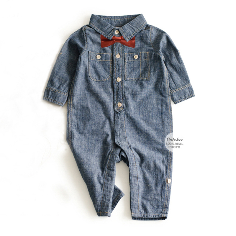 Bow tie and Fashion Jeans Baby clothes cowboy blue baby jumpsuit button baby clothing Top newborn baby boy clothes Denim rompers