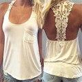 Jinggton oval Mulheres Colete de Verão Top Blusa Sem Mangas Tanque Casual Tops T-Shirt Lace frete grátis & grosso