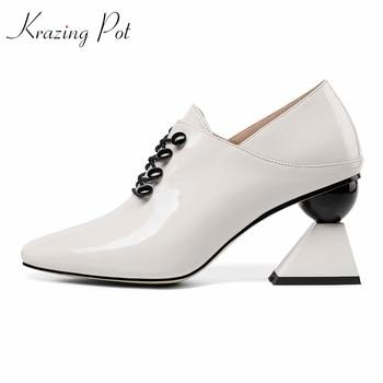 Krazing pot 2019 new full grain leather strange style high heels office lady original design career square toe lace up pumps L82
