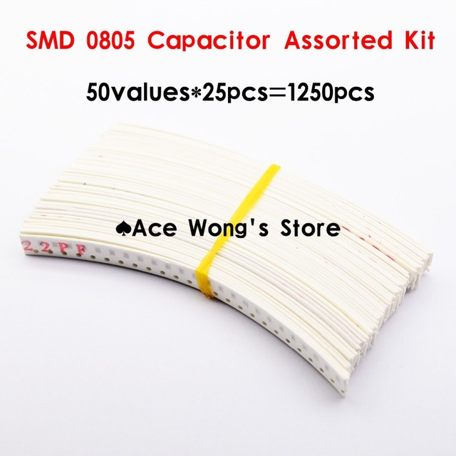 0805 SMD Ceramic Capacitor Assorted Kit 1pF~10uF 50values*25pcs=1250pcs Chip Ceramic Capacitor Samples kit