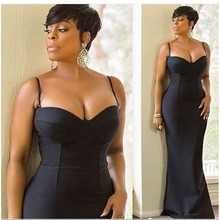 Plus Size 2016 Women Sleeveless Fashion Black Spaghetti Strap Dress Bodycon Sexy Strapless Party Summer Long Maxi Evening Gowns