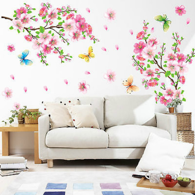 Home Decor Removable Peach Plum Cherry Blossom Flower Butterfly Mural Wall  Art DIY Stickers Bedroom Bathroom