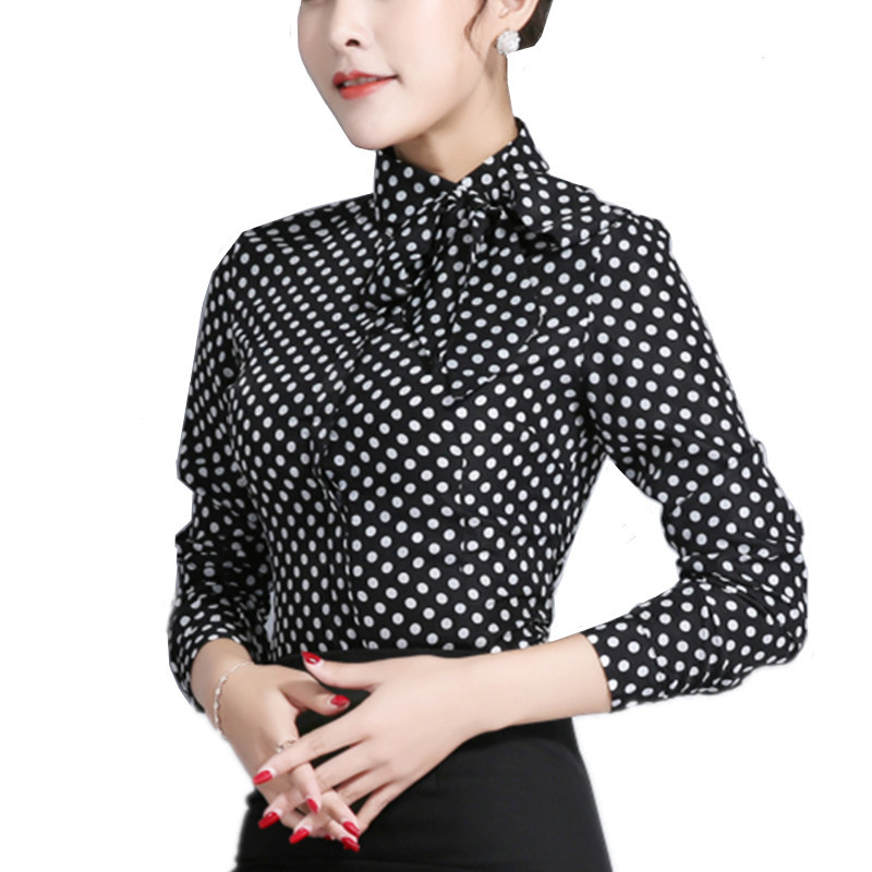 Women 39 S Long Sleeve Shirt Polka Dot Tie Bow Neck Button