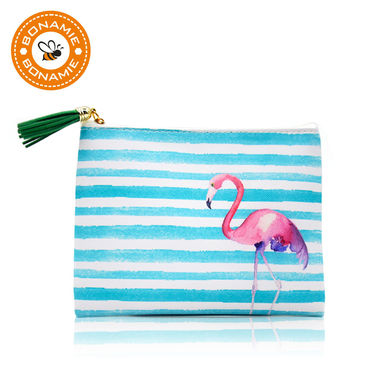 BONAMIE Hot Women Stripe Cosmetic Case Bag Flamingo Printed Lady Clutch Bag Tassel Leather Girl Small Beach Bag Purse Makeup Bag
