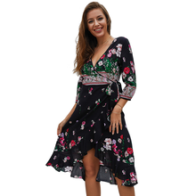 2019 Sexy Women Dress Bohemian Dresses Printed V-Neck womens dress office beach N30D