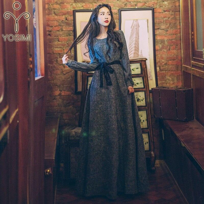 d0a0e33f1a5 YOSIMI 2018 осень зима Макси Элегантное длинное женское платье Вечеринка  Женское Vestidos Туника серое с круглым вырезом платье кружевной пояс