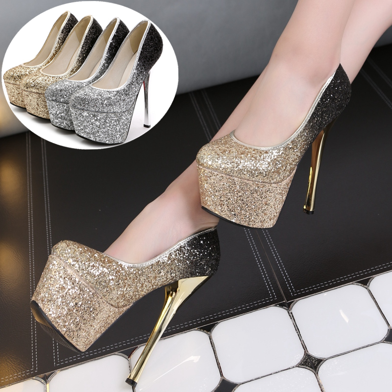 European style luxury super high <font><b>heel</b></font> pumps sexy shoes Sequined silver wedding shoes fine with <font><b>15</b></font> cm large <font><b>size</b></font> super high <font><b>heel</b></font> image