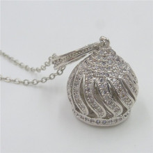 Free shipping New Jewelry Copper 32mm Micro Pave Rhinestone Rotary Bell Pendant Necklace 20″