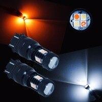 PA LED 2pcs x 3030 LED Turn Signal DRL Light White Amber 16SMD 3157 3057 4157 Switchback Dual LED