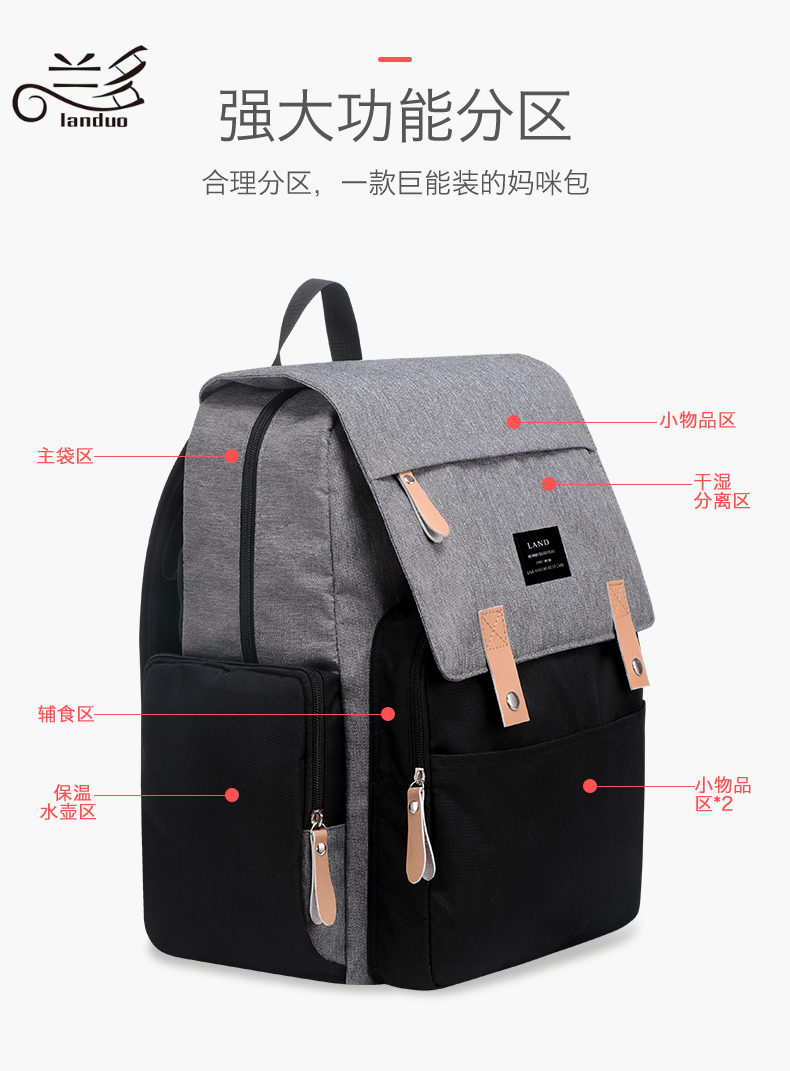 HTB1OFa5Xo rK1Rjy0Fcq6zEvVXag LAND Mommy Diaper Bags Landuo Mother Large Capacity Travel Nappy Backpacks with changing mat Convenient Baby Nursing Bags MPB86