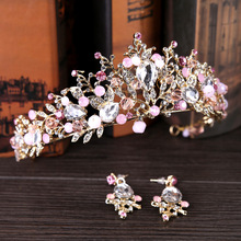 Beautiful Crystal Princess Hair Crowns For Bridal Wedding Party Head Accessories Women Gold Baroque Pearls