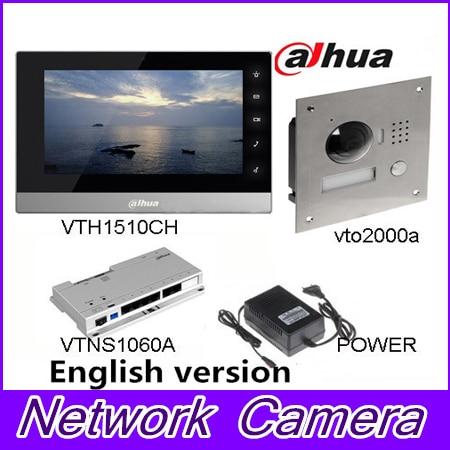 Original 7 Inch Touch Screen Dahua VTH1510CH Color Monitor with VTO2000A outdoor IP Metal Villa Outdoor Video Intercom sysytem