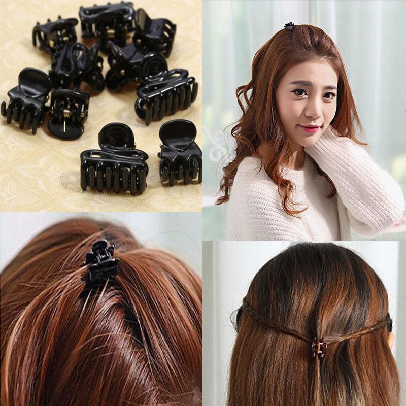 12pcs Black Hair Claws Hair Accessories Small Grip Paw Hairpin Plastic Basics Bobby Pins For Ladies Girls 3cm Hair Clip Barrette Girl's Hair Accessories Girl's Accessories