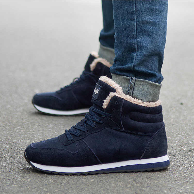 Erkekler kış ayakkabı artı boyutu 46 erkek botları kürk siyah kış Sneakers erkek rahat ayakkabılar ayakkabı erkekler patik kar Botas hombre