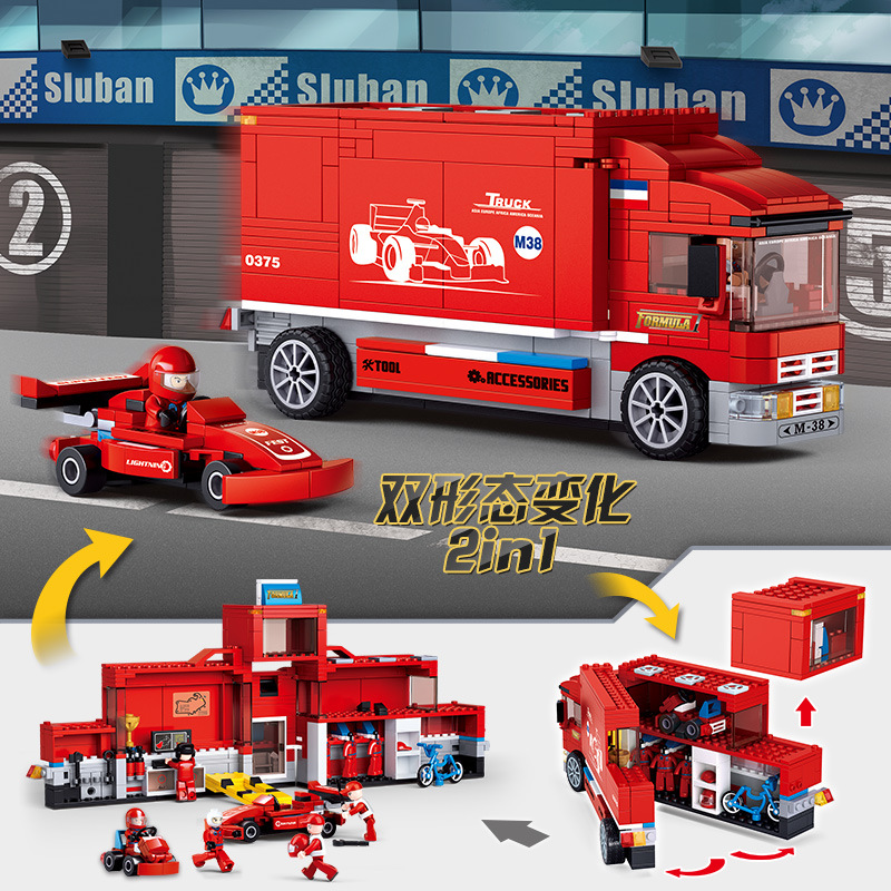 2 IN 1 F1 Team TRuck Speed Champions Formula Car Building Blocks Red Racer Model Bricks