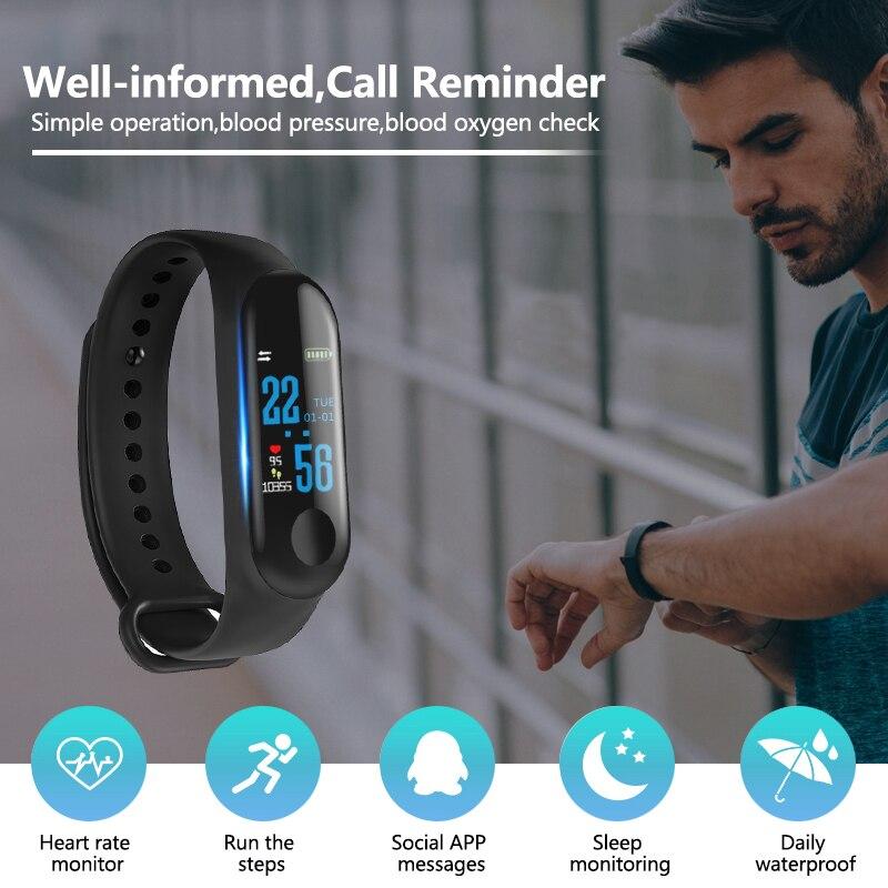 Image 4 - M3 Smart Band Sport Bracelet Fitness Tracker reloj inteligente Wristband Monitor 0.96 inch Heart Rate Monitor Smart band-in Smart Wristbands from Consumer Electronics