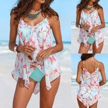 Biquíni 2020 Mulheres 3PCS Conjuntos Biquínis Tankini Inferior Plus Size Malha Em Camadas Swimwear Maiôs Maillot de bain Femme Novo купальник