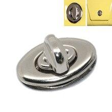20 Sets New Metal Oval Coin Purse Bag Twist Turn Lock Clasps Silver Tone 35x33mm