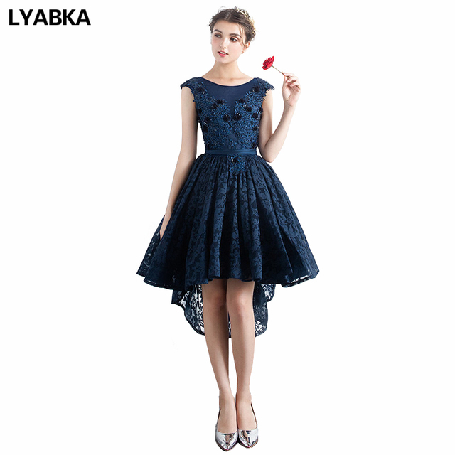 Scoop Neck Prom Dresses For Party High Low Real Photo New Fashion Navy Blue Lace  Prom Dress Short Sleeveless Prom Dresses 2019 f76a0f9b2