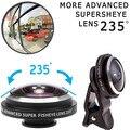 2017 clips de universele 235 grados súper lentes de ojo de pez lente ojo de pez para iphone 4 4S 5 5S 5c se 6 6 s 7 más lentes de teléfono móvil