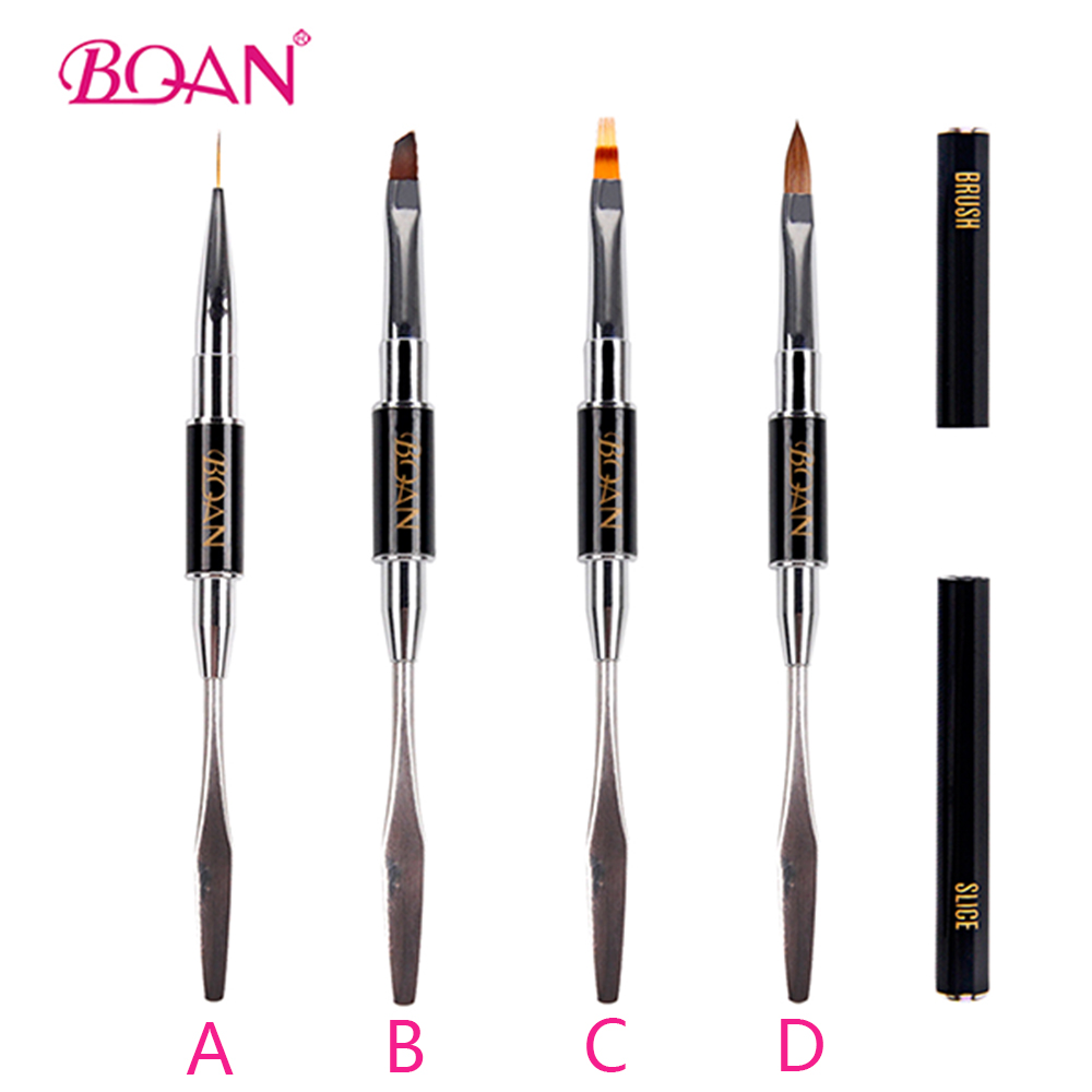 BQAN 1Pcs Double Use Cuticle UV & Poly Gel Nail Brush Kolinsky Nylon Hair Flat Pusher for Nail Tips Extension Gel Building Pen