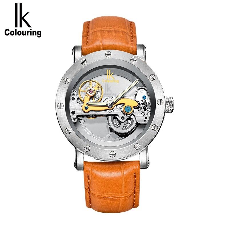 IK coloriage creux squelette automatique montres mécaniques hommes Top marque de luxe affaires plein acier gagnant montre-bracelet horloge heure