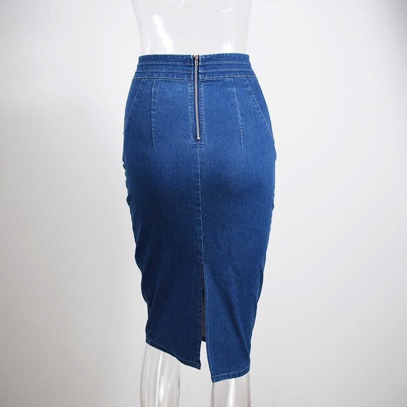 8a9027f6c5c6f ... Chictorso Sexy High Waist Denim Skirts Blue Bodycon Pencil Skirt Women  Plus Size Summer Skirt Long