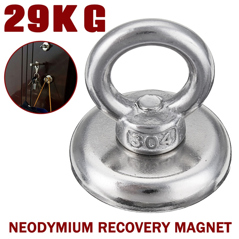 1Pcs 29Kg Neodymium Recovery Magnet Metal Detector Treasure Hunting Fishing Sucker Magnetic Materials 36x35.5mm Tools