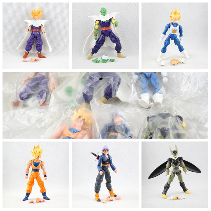 6pcs/set Dragon Ball Z Joint Movable Vegeta Piccolo Son Gohan Son Goku Trunks PVC Action Figures doll toys model Free Shipping patrulla canina with shield brinquedos 6pcs set 6cm patrulha canina patrol puppy dog pvc action figures juguetes kids hot toys