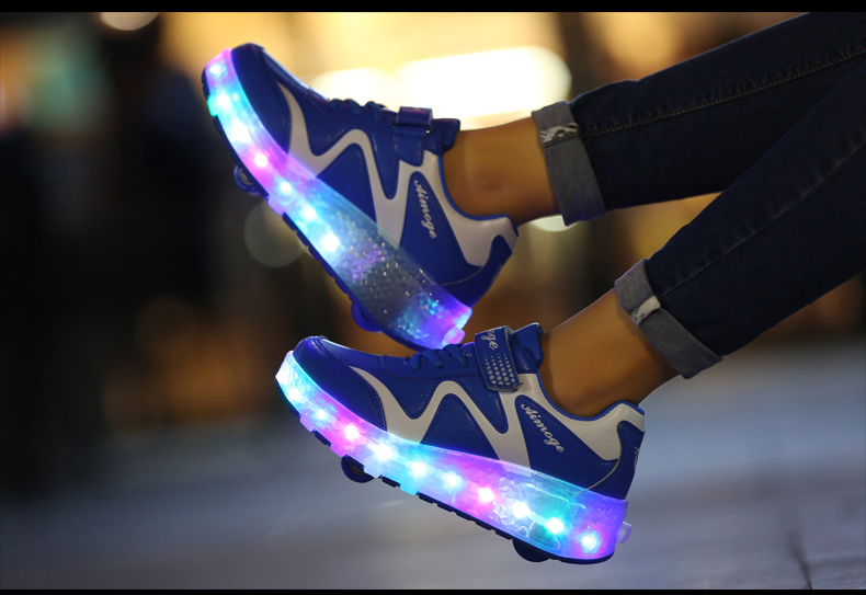 New Popular Kids Glowing Sneakers With Wheels Children Led Shoes Boys Girls Light Up Roller Skate Shoes Stars tenis de rodinha4